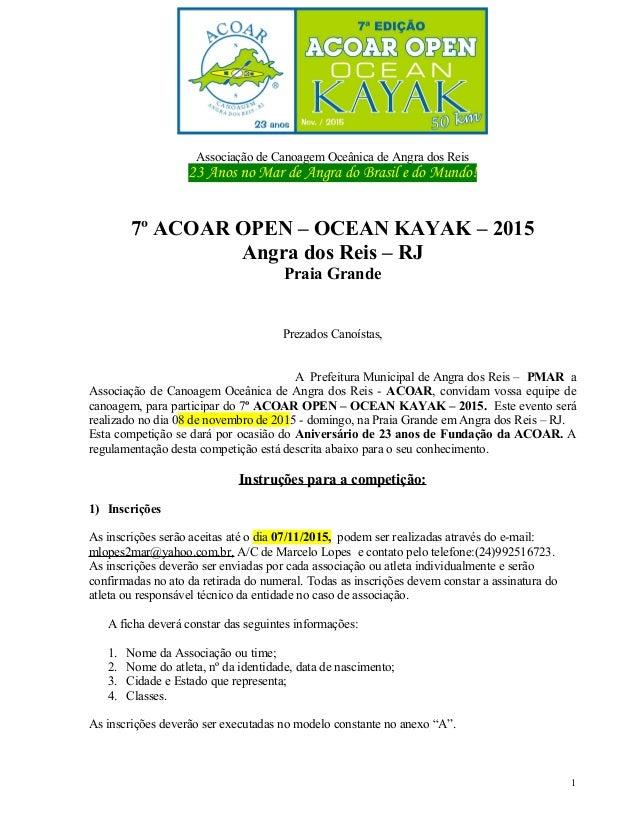 Associação de Canoagem Oceânica de Angra dos Reis 23 Anos no Mar de Angra do Brasil e do Mundo! 7º ACOAR OPEN – OCEAN KAYA...
