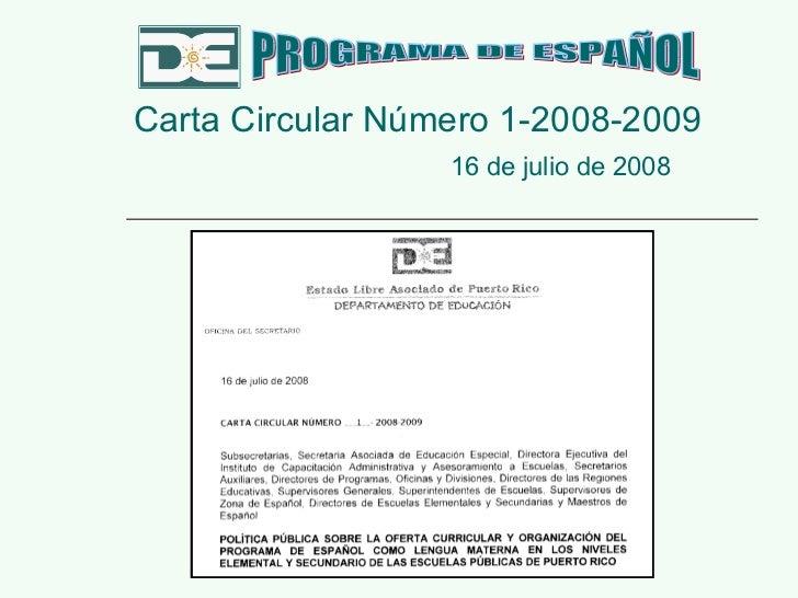 Presentación Carta Circular NúMero 1 2008 2009 Programa De EspañOl