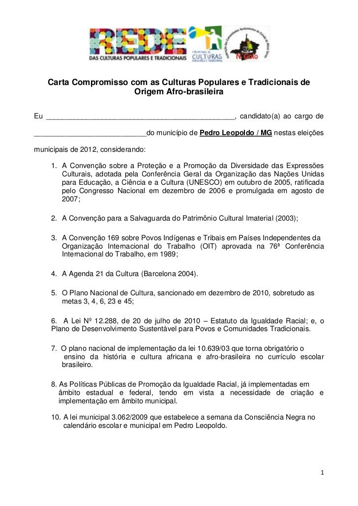 Carta Compromisso com as Culturas Populares e Tradicionais de                       Origem Afro-brasileiraEu _____________...