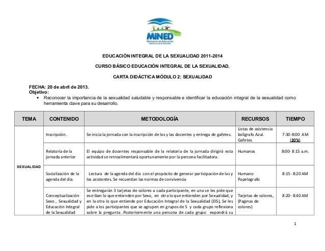 EDUCACIÓN INTEGRAL DE LA SEXUALIDAD 2011-2014 CURSO BÁSICO EDUCACIÓN INTEGRAL DE LA SEXUALIDAD. CARTA DIDÁCTICA MÓDULO 2: ...