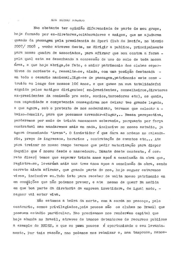 Carta do ex-presidente do Sport Milton Bivar com críticas ao projeto de construção da Nova Ilha do Retiro