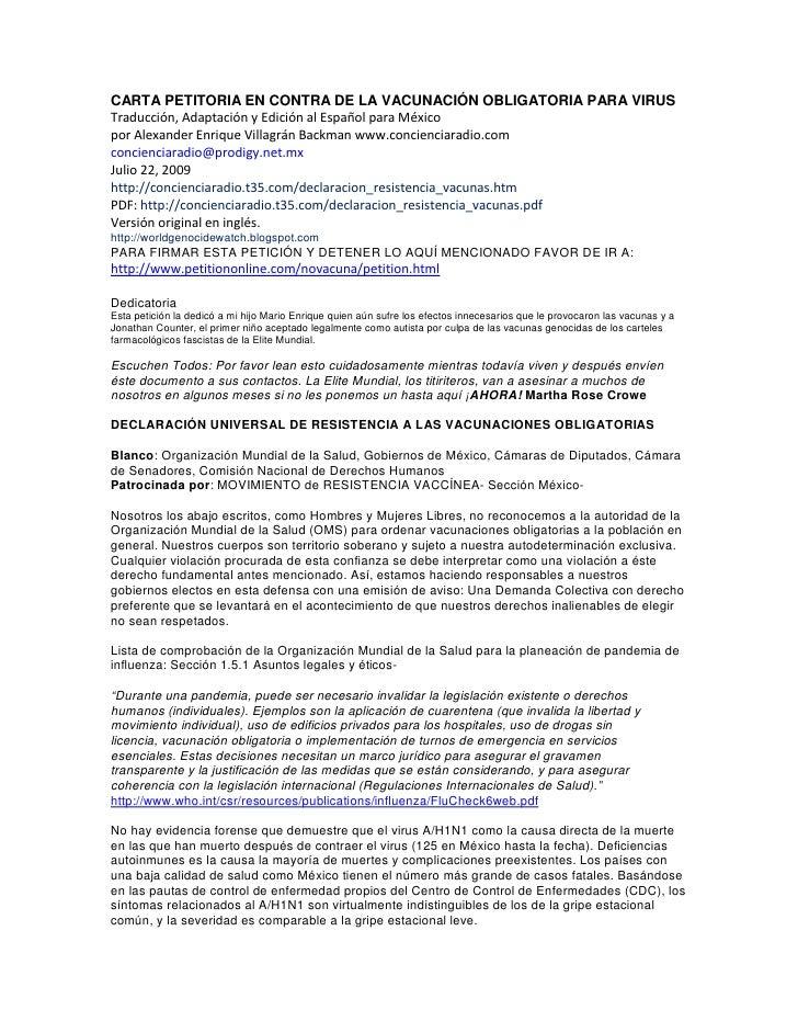 CARTA PETITORIA EN CONTRA DE LA VACUNACIÓN OBLIGATORIA PARA VIRUS Traducción, Adaptación y Edición al Español para México ...