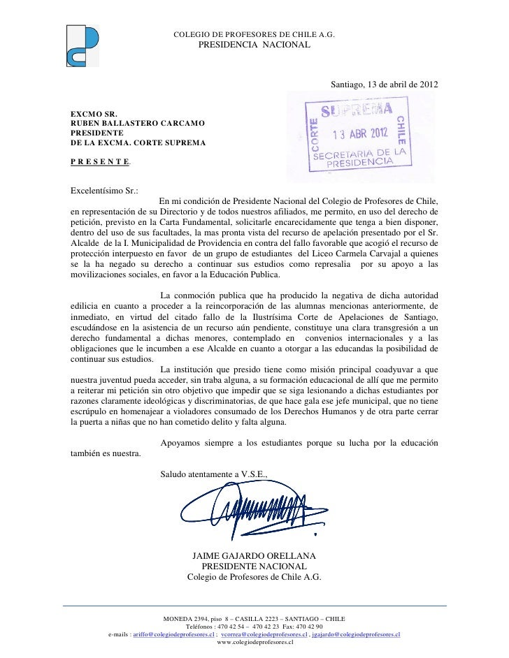 COLEGIO DE PROFESORES DE CHILE A.G.                                          PRESIDENCIA NACIONAL                         ...