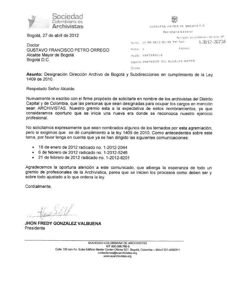 Carta a alcalde de bogotá   director archivo de bogotá