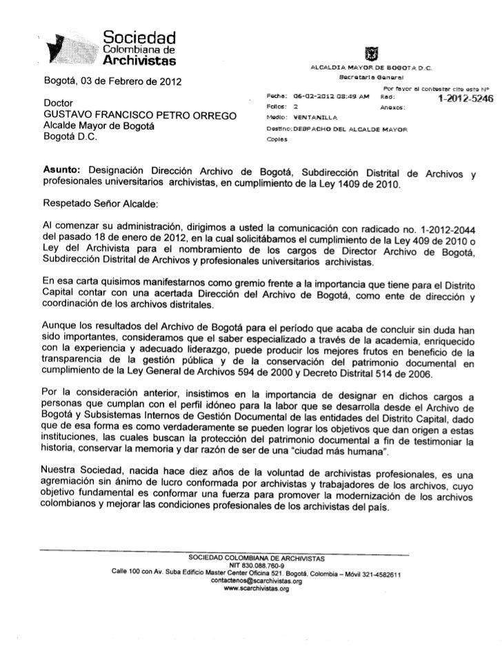 Carta a Alcalde Mayor de Bogotá   Director Archivo Bogotá