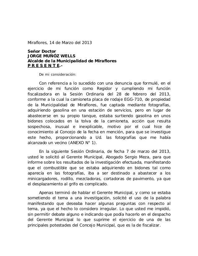 Miraflores, 14 de Marzo del 2013Señor DoctorJORGE MUÑÓZ WELLSAlcalde de la Municipalidad de MirafloresP R E S E N T E.-   ...