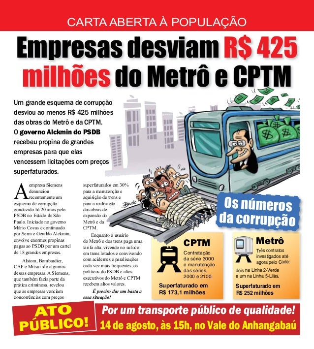 Panfleto faz convocação para protesto sobre escândalo de cartel no metrô de São Paulo