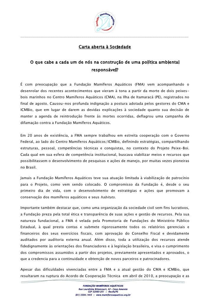 Carta aberta à sociedade  divulgação