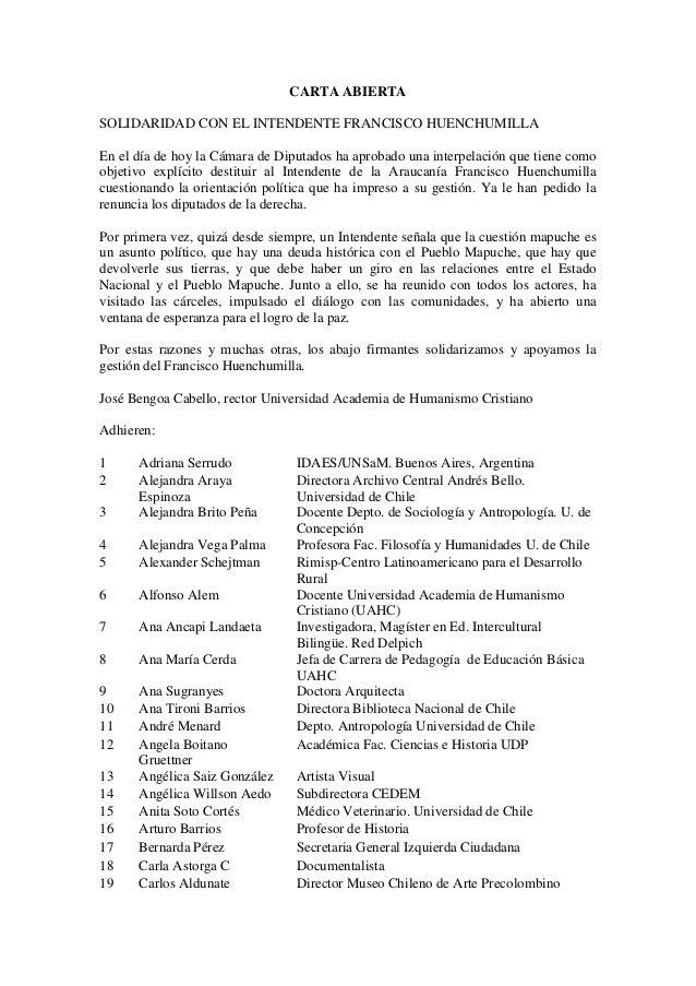 CARTA ABIERTA SOLIDARIDAD CON EL INTENDENTE FRANCISCO HUENCHUMILLA En el día de hoy la Cámara de Diputados ha aprobado una...