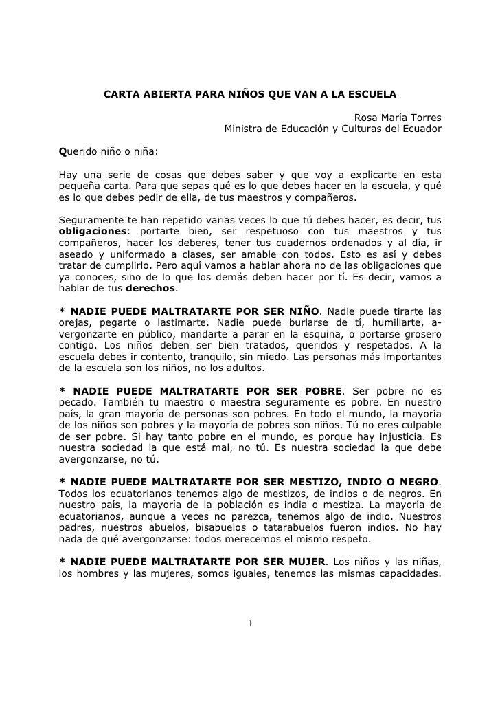 CARTA ABIERTA PARA NIÑOS QUE VAN A LA ESCUELA                                                             Rosa María Torre...