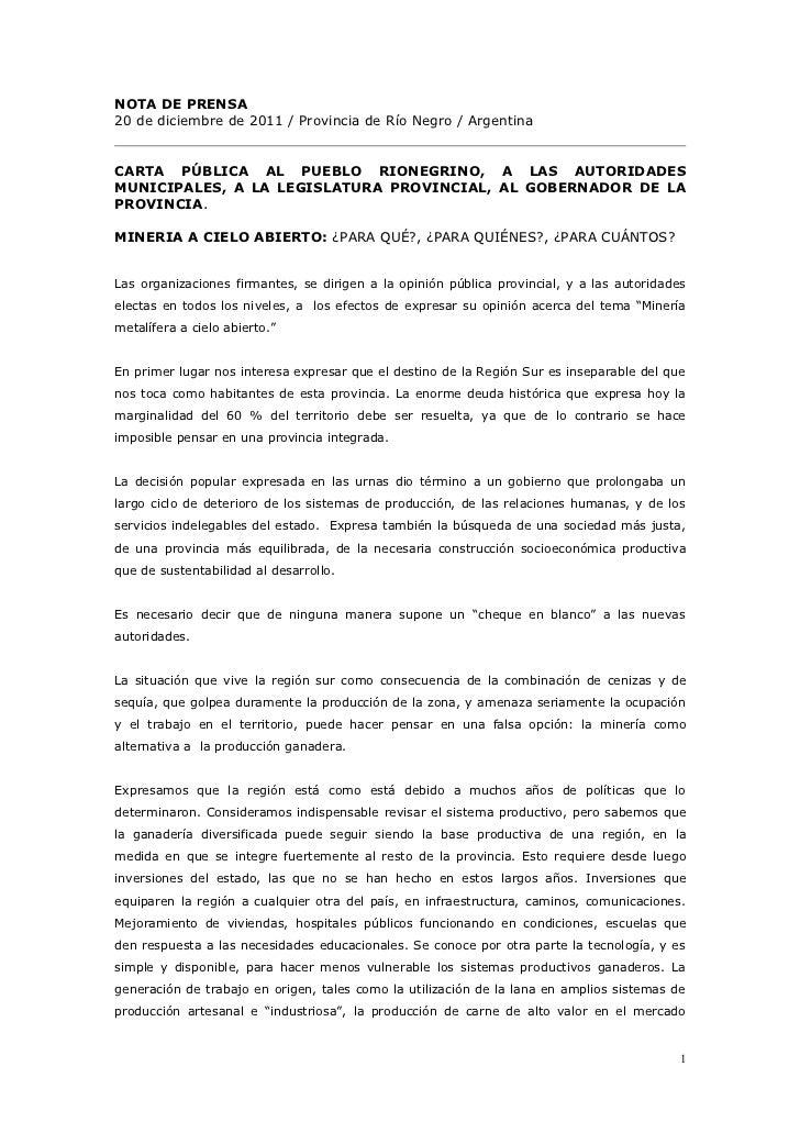 Carta Pública a las Autoridades de Río Negro