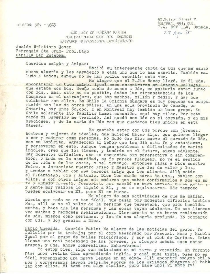Carta escrita por el padre Carlos Csokay Klemm SJ el 27 de agosto de 1975 al grupo catolico Accion Cristana Joven (ACJ)