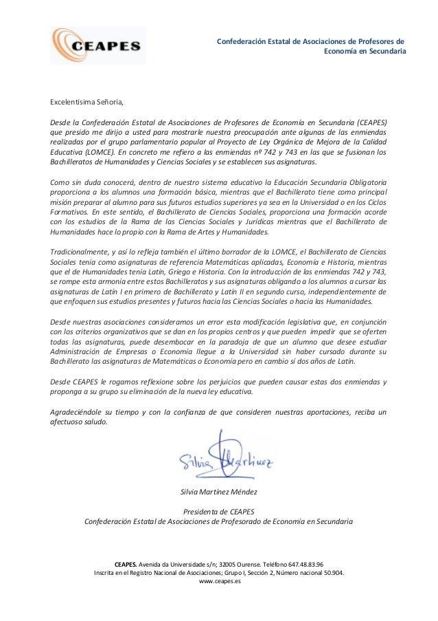 Confederación Estatal de Asociaciones de Profesores de Economía en Secundaria  Excelentísima Señoría, Desde la Confederaci...