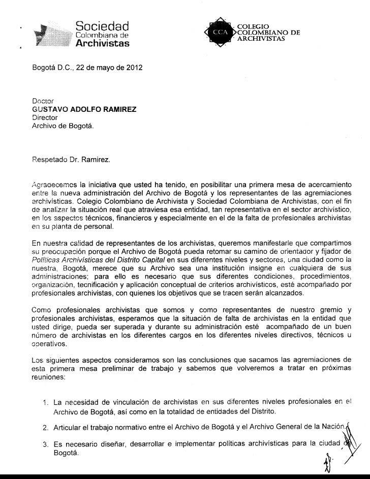Carta a Director del Archivo de Bogotá