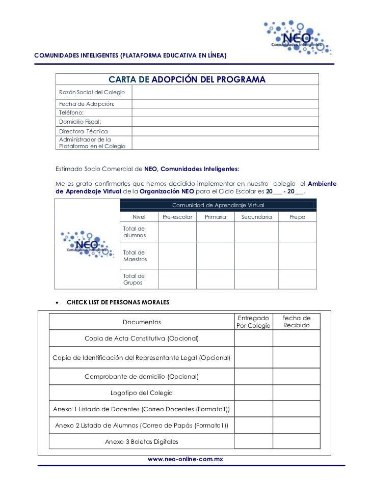 COMUNIDADES INTELIGENTES (PLATAFORMA EDUCATIVA EN LÍNEA)                               CARTA DE ADOPCIÓN DEL PROGRAMA     ...