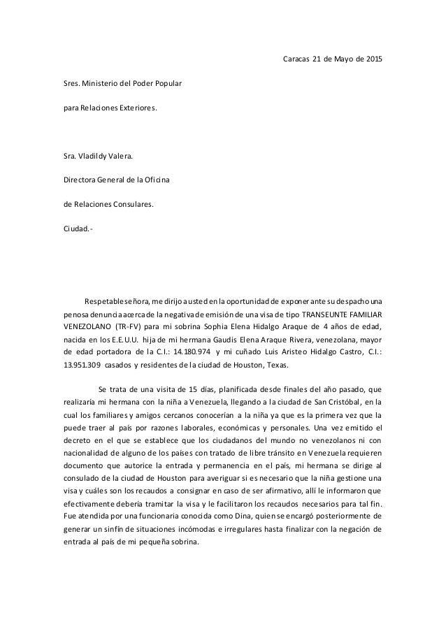 Carta a la directora general de la oficina de relaciones for Que es un consul