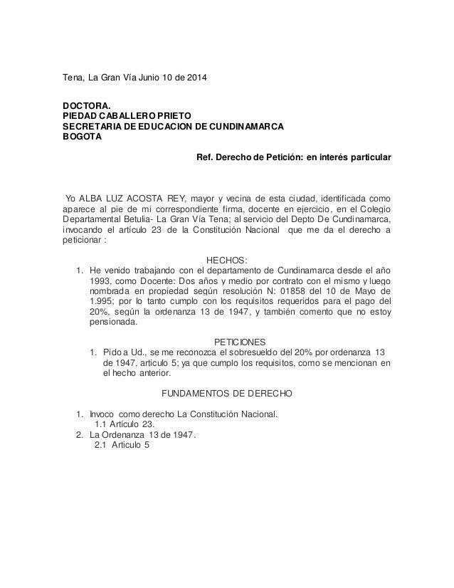 Tena, La Gran Vía Junio 10 de 2014 DOCTORA. PIEDAD CABALLERO PRIETO SECRETARIA DE EDUCACION DE CUNDINAMARCA BOGOTA Ref. De...