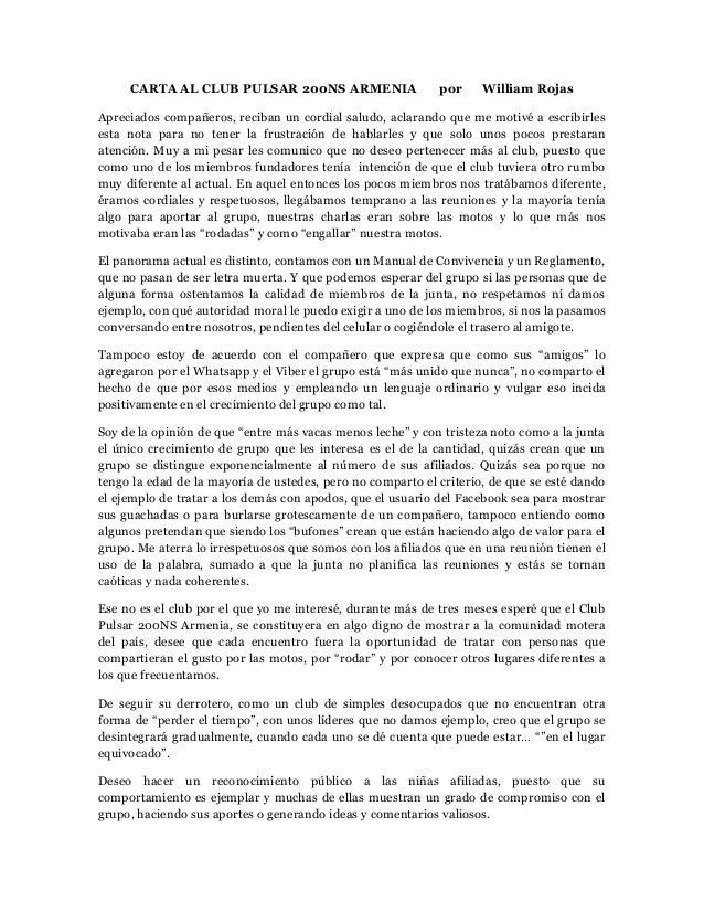Carta al club pulsar  ns armenia