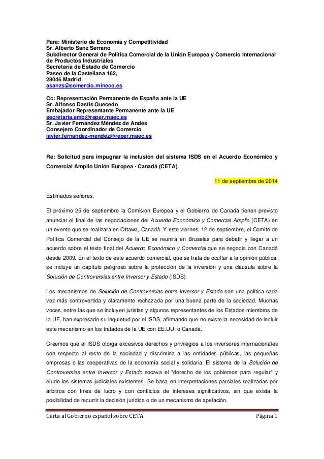 Para: Ministerio de Economía y Competitividad  Sr. Alberto Sanz Serrano  Subdirector General de Política Comercial de la U...