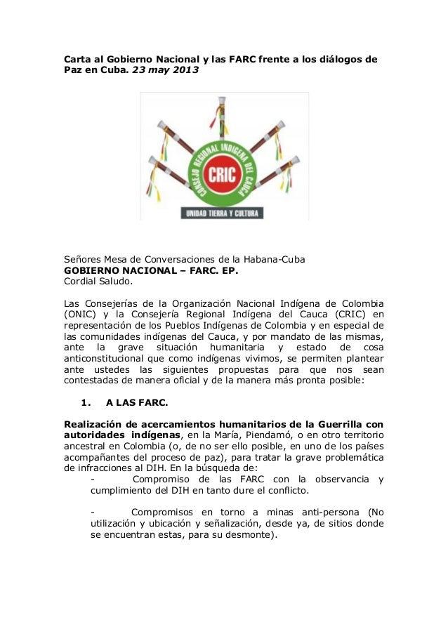 Carta al Gobierno Nacional y las FARC frente a los diálogos de Paz en Cuba. 23 may 2013