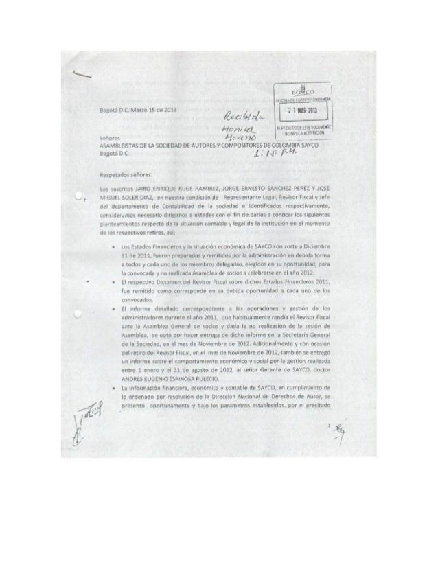 CARTA A LOS ASAMBLEÍSTAS DE SAYCO MARZO 2013