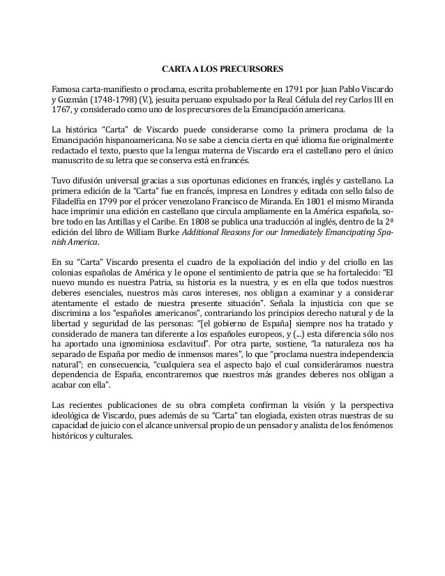 CARTAA LOS PRECURSORES Famosa carta-manifiesto o proclama, escrita probablemente en 1791 por Juan Pablo Viscardo y Guzmán ...