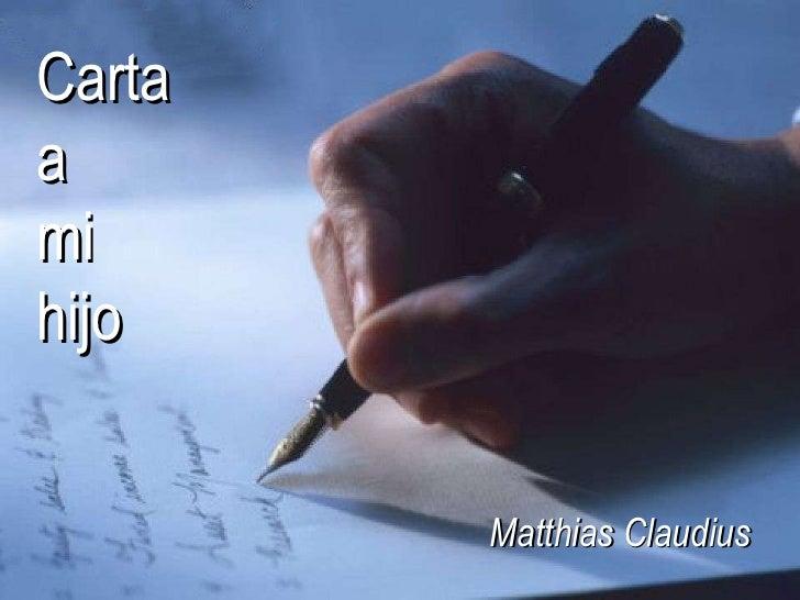 Carta  a  mi  hijo Matthias Claudius