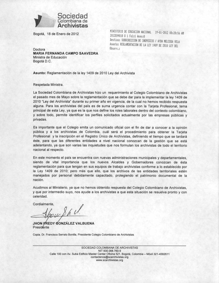 Carta al Ministerio de Educación Ley 1409 de 2010