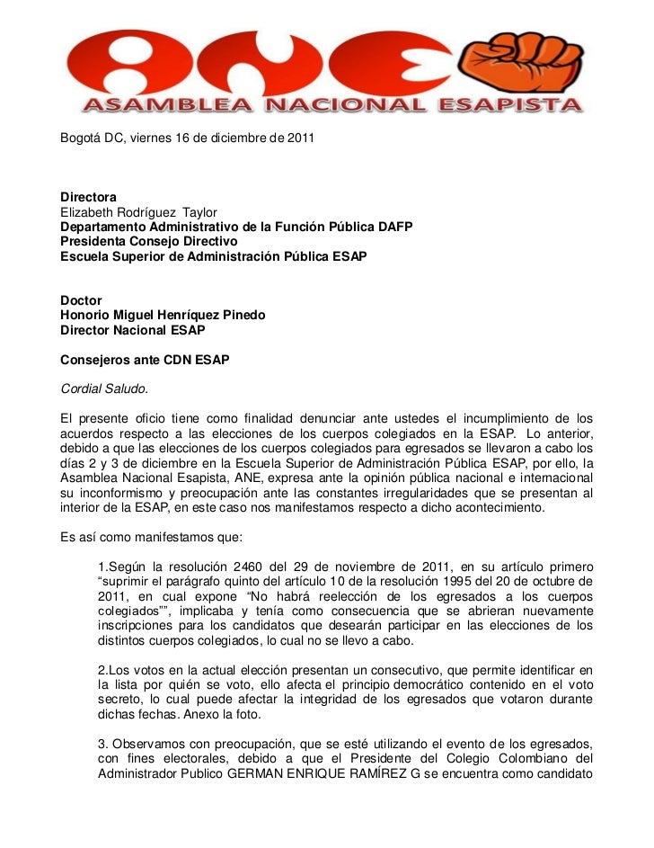 Bogotá DC, viernes 16 de diciembre de 2011DirectoraElizabeth Rodríguez TaylorDepartamento Administrativo de la Función Púb...