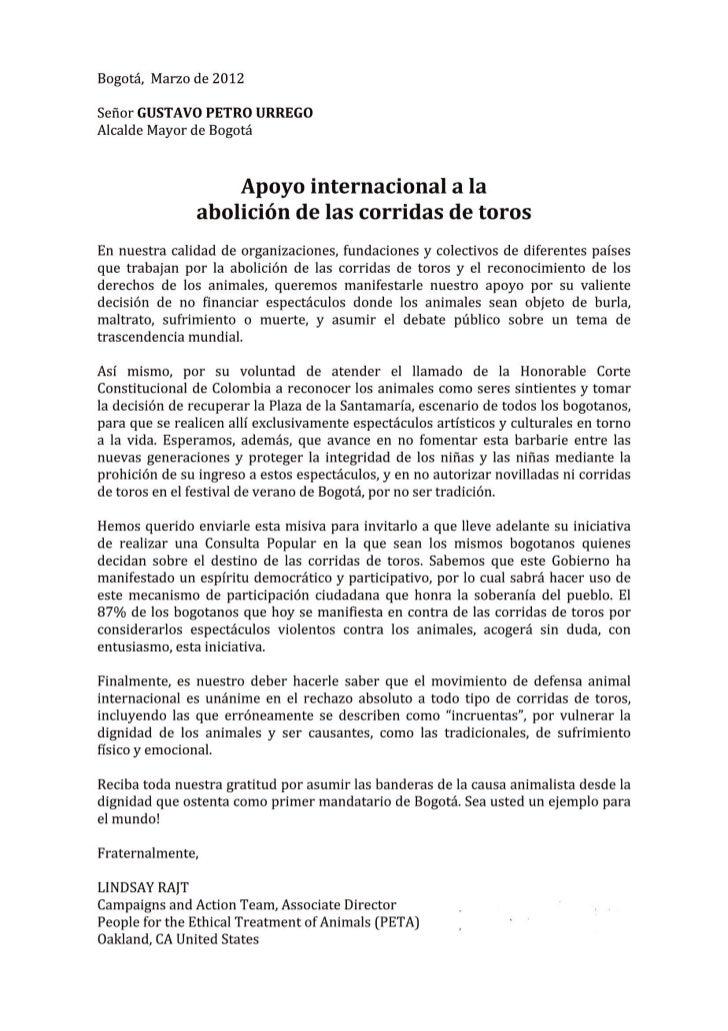 Carta de Apoyo Internacional al Alcalde de Bogotá para la Abolición de la Tauromaquia