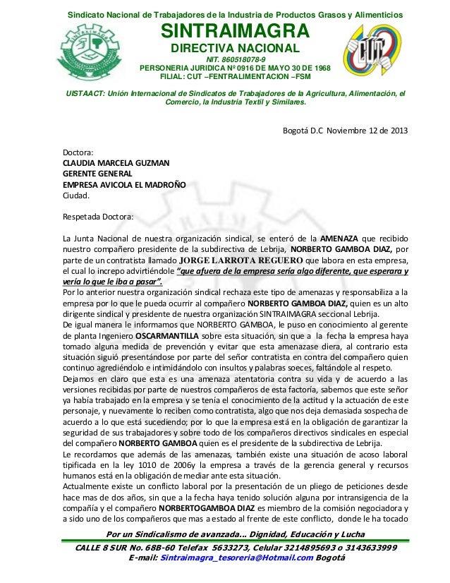 Sindicato Nacional de Trabajadores de la Industria de Productos Grasos y Alimenticios  SINTRAIMAGRA DIRECTIVA NACIONAL NIT...