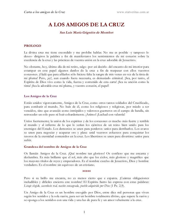 CARTA CIRCULAR AMIGOS CRUZ- S.LUIS M. GRIGNON DE MONTFORT