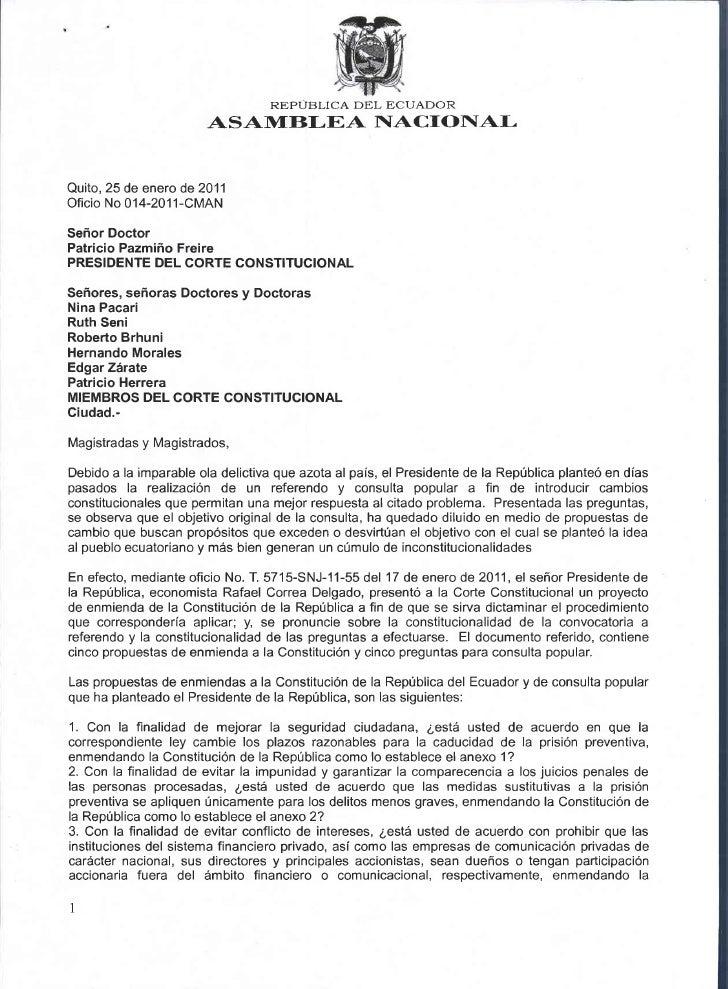 REPUBLICA DEL ECUADOR                        ASAIT1fBI-EA NACIONALQuito, 25 de enero de 2011Oficio No 014-201 1-CMANSefror...