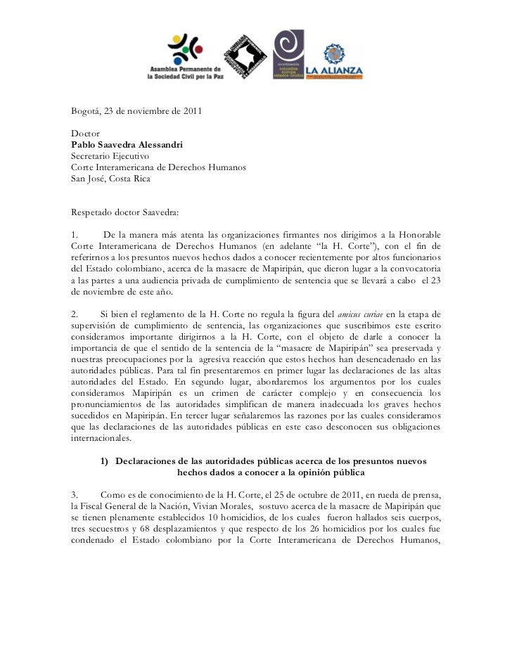 Carta a la Corte Interamericana de Derechos Humanos sobre el caso Mapiripán