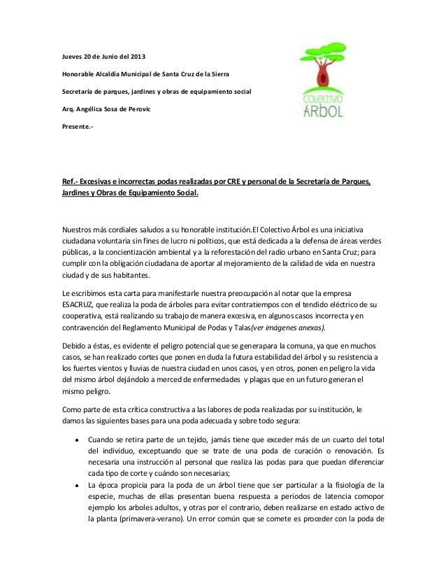 20 de Junio del 2013Honorable Alcaldía Municipal de Santa Cruz de