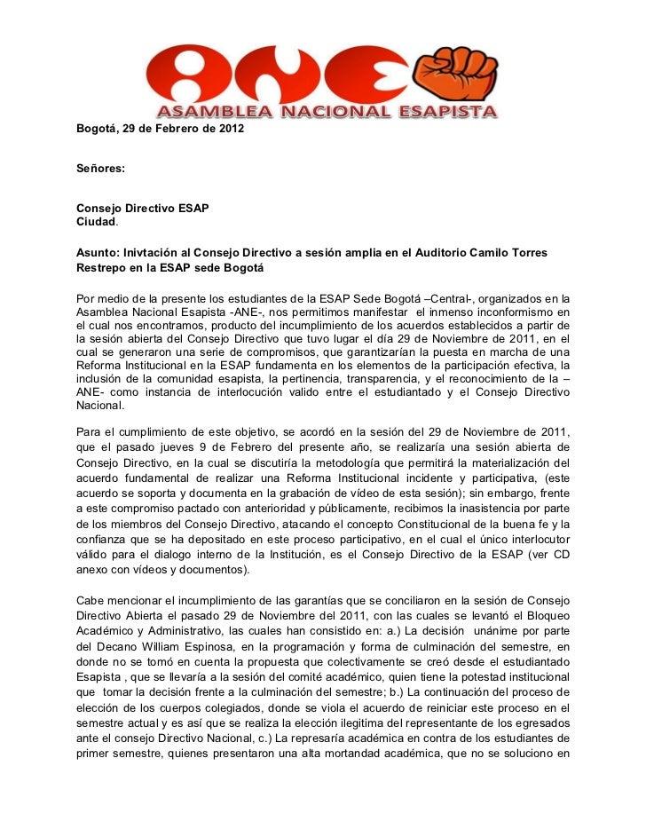 Bogotá, 29 de Febrero de 2012Señores:Consejo Directivo ESAPCiudad.Asunto: Inivtación al Consejo Directivo a sesión amplia ...