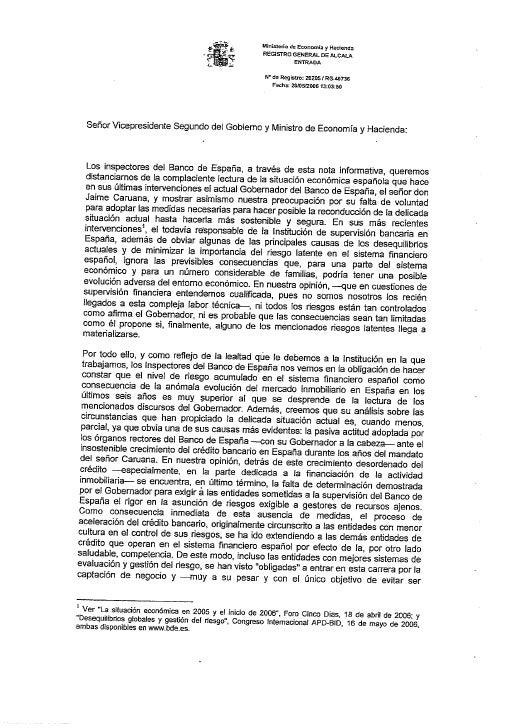 Carta de alerta de  los inspectores del banco de espana  al ministro de economia 2006