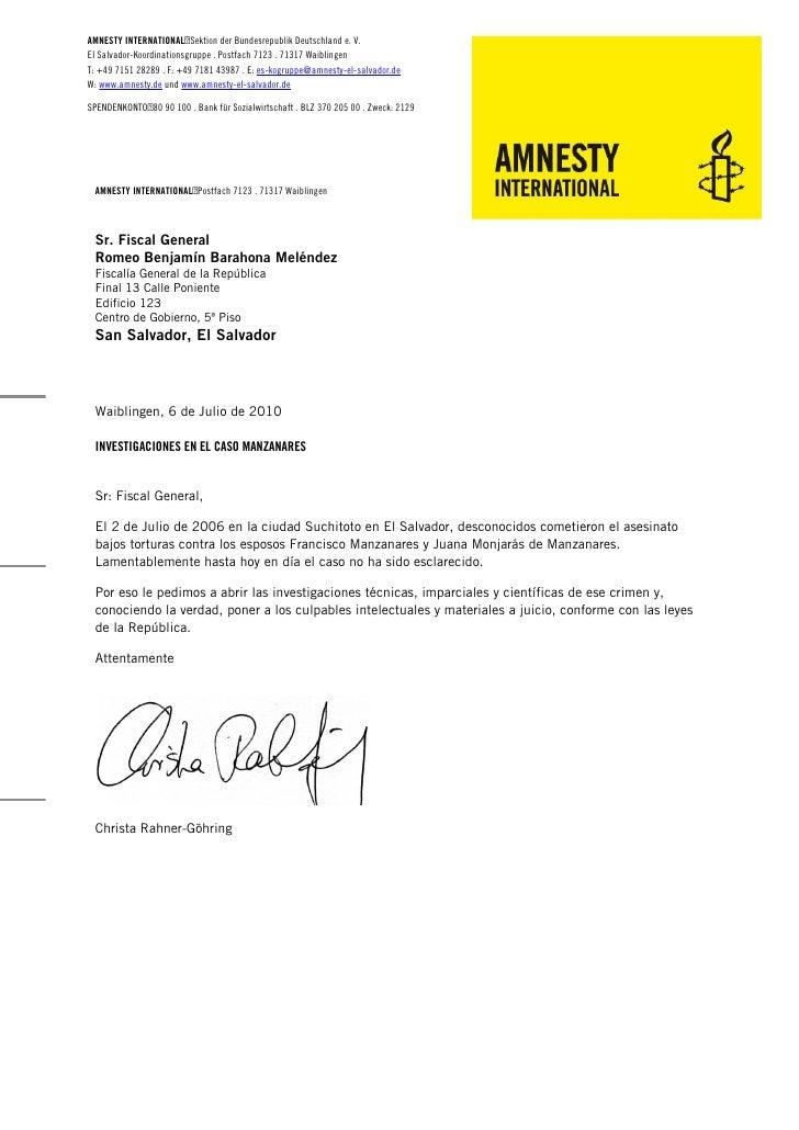 AMNESTY INTERNATIONALSektion der Bundesrepublik Deutschland e. V. El Salvador-Koordinationsgruppe . Postfach 7123 . 71317...