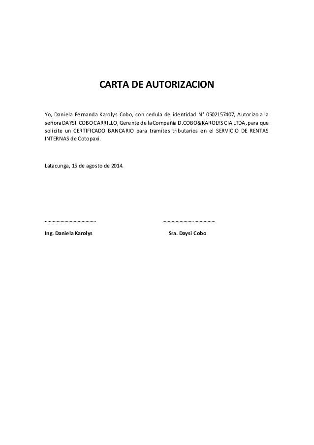 Modelo Autorizacin Modelines Formato De Una Carta De