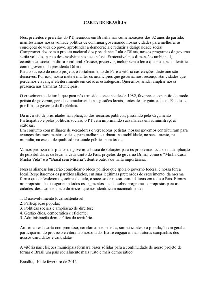 CARTA DE BRASÍLIANós, prefeitos e prefeitas do PT, reunidos em Brasília nas comemorações dos 32 anos do partido,manifestam...