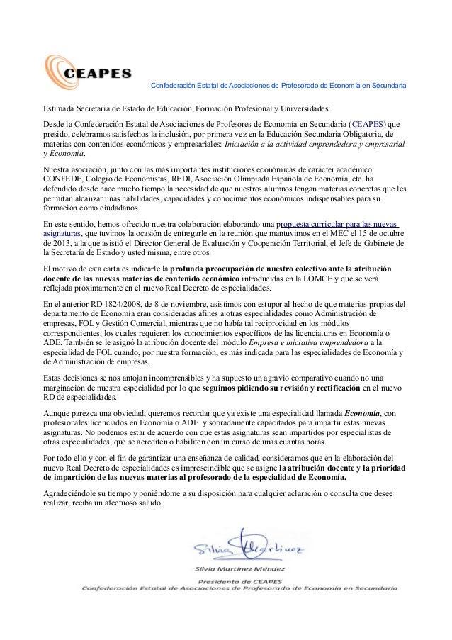 Carta de ceapes a la Secretaria de Estado de educación
