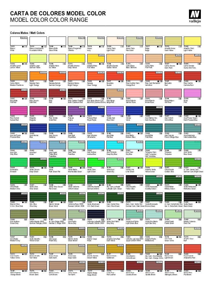 Carta de colores for Cartilla de colores