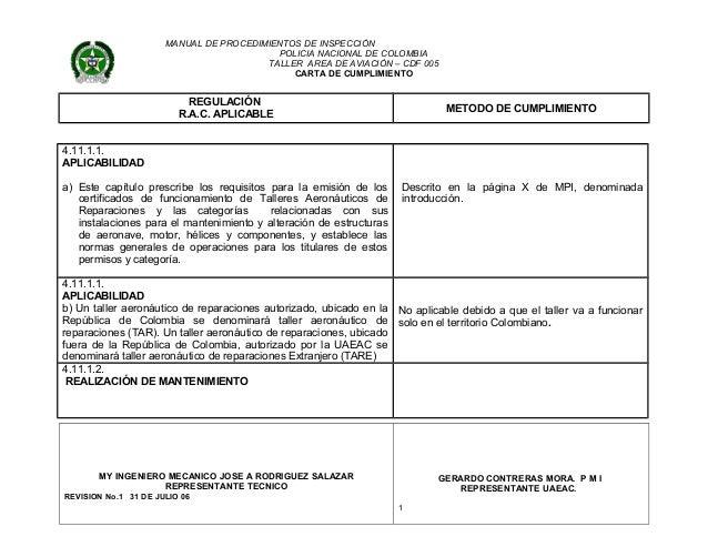 MANUAL DE PROCEDIMIENTOS DE INSPECCIÓN POLICIA NACIONAL DE COLOMBIA TALLER AREA DE AVIACIÓN – CDF 005 CARTA DE CUMPLIMIENT...