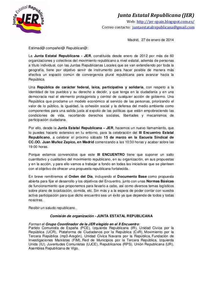 Convocatoria III Encuentro Estatal Republicano (Junta Estatal Republicana)