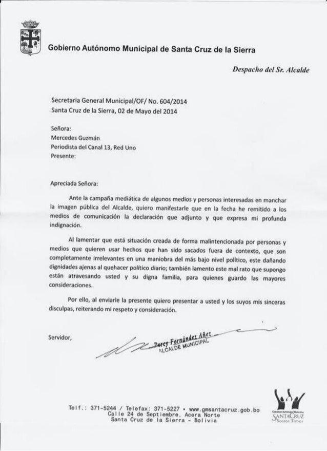 Carta de disculpas de percy fernandez a periodista
