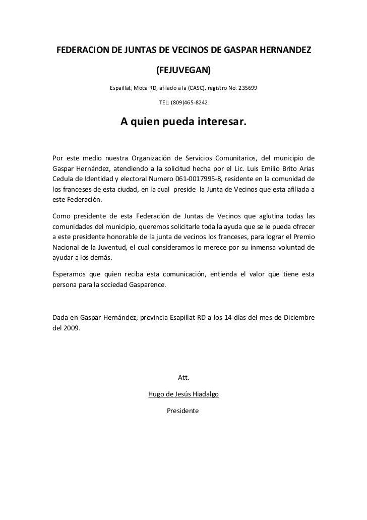 carta de federacion de juntas de vecinos de gaspar hernandez