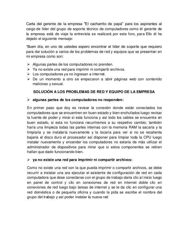 """Carta del gerente de la empresa """"El cacharrito de papá"""" para los aspirantes al cargo de líder del grupo de soporte técnico..."""