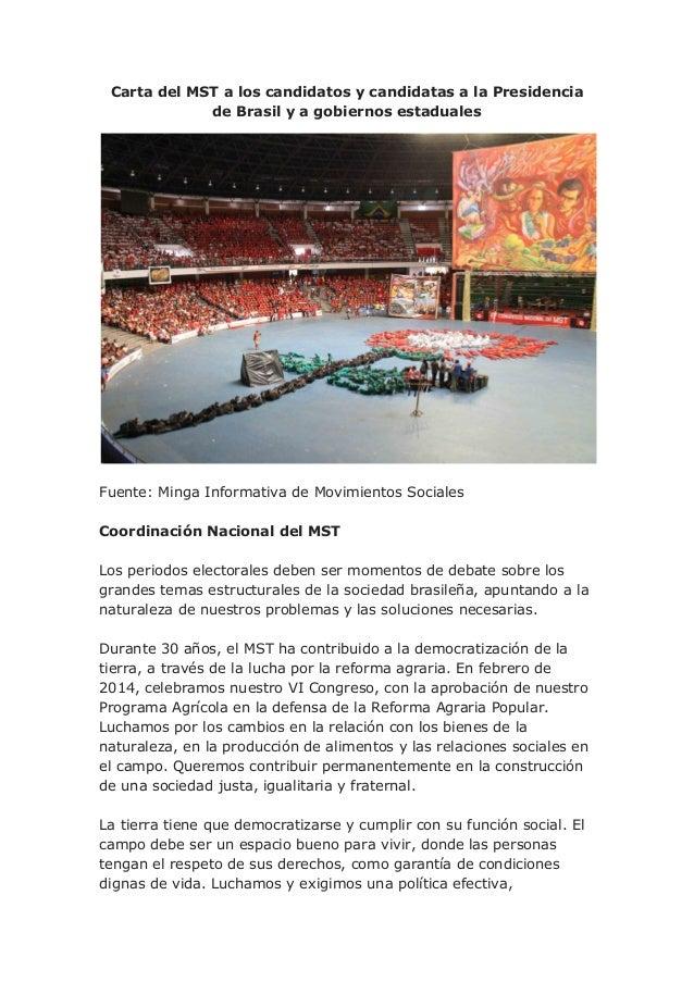 Carta del MST a los candidatos y candidatas a la Presidencia de Brasil y a gobiernos estaduales  Fuente: Minga Informativa...