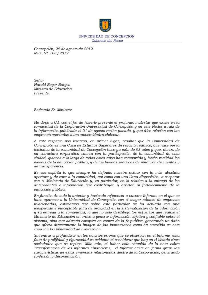 UNIVERSIDAD DE CONCEPCION                                Gabinete del RectorConcepción, 24 de agosto de 2012Rect. Nº: 168 ...