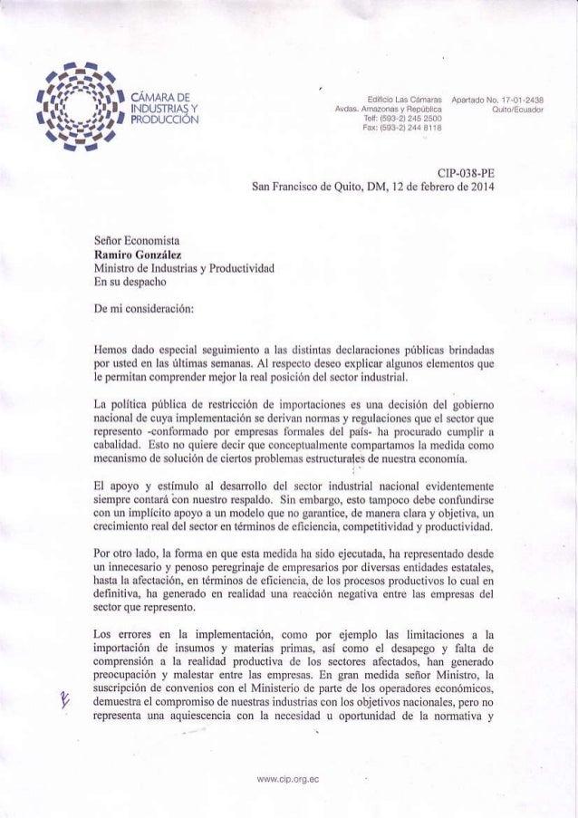 Oficio del sector industrial al ministro ramiro gonzalez